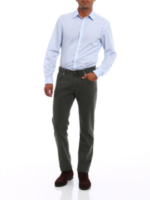 Jacob Cohen: casual trousers online - Dark green jacquard cotton trousers