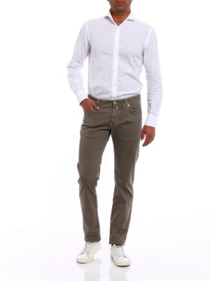 Jacob Cohen: casual trousers online - Herringbone print cotton trousers