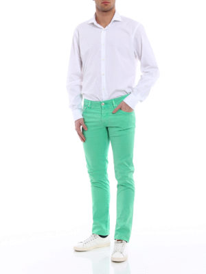 Jacob Cohen: casual trousers online - Light green stretch cotton trousers
