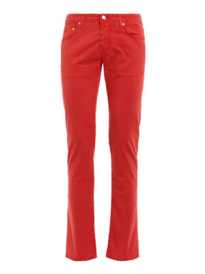 Jacob Cohen: casual trousers - Red stretch cotton trousers