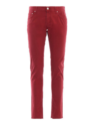 JACOB COHEN: casual trousers - Style 622 slim fit red trousers