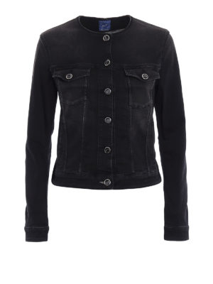 Jacob Cohen: denim jacket - Dyed denim collarless crop jacket