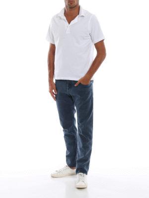 JACOB COHEN: pantaloni casual online - Pantaloni blu cinque tasche in cotone spigato