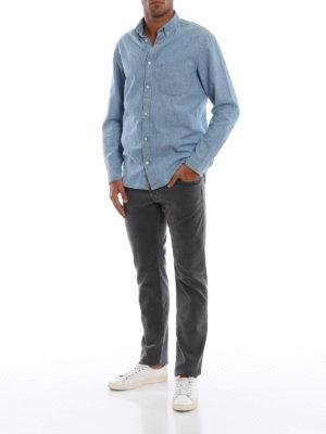 JACOB COHEN: pantaloni casual online - Pantaloni grigi antracite in cotone spigato