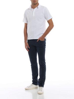 JACOB COHEN: pantaloni casual online - Pantaloni micro fantasia blu in cotone