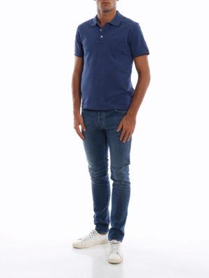 JACOB COHEN: polo online - Polo in piqué stretch blu con ricamo logo