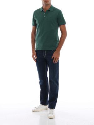 JACOB COHEN: polo online - Polo in piqué stretch verde con ricamo logo