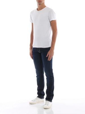 a sigaretta - Jeans sartoriali con etichetta logo beige