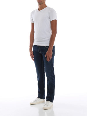 a sigaretta - Jeans slim fit blu in cotone stretch