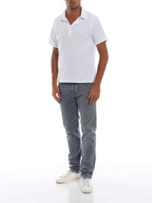 a sigaretta - Jeans cinque tasche in denim grigio chiaro