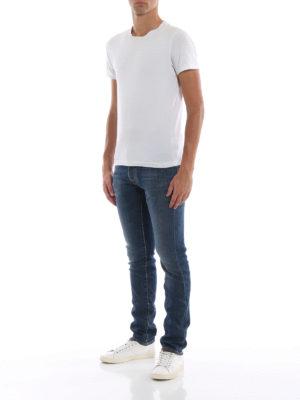 a sigaretta - Jeans sartoriali con fodera in cotone a righe