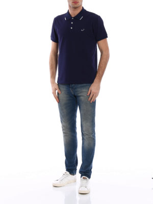 Jacob Cohen: polo shirts online - Striped trim dark blue polo shirt