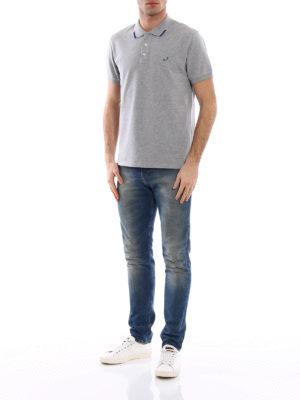 Jacob Cohen: polo shirts online - Striped trim grey polo shirt