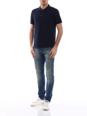 Jacob Cohen: polo shirts online - Striped trim navy polo shirt