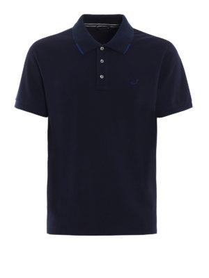 Jacob Cohen: polo shirts - Striped trim navy polo shirt