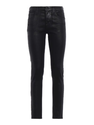 JACOB COHEN: jeans skinny - Jeans skinny Kimberly Crop in denim spalmato