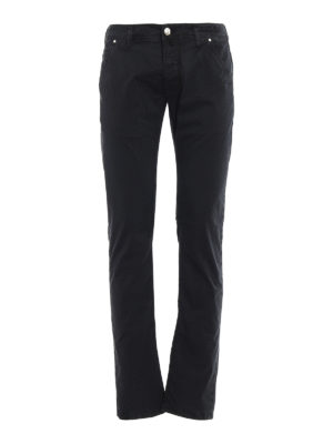 Jacob Cohen: straight leg jeans - Black logo label detailed jeans