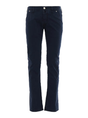 Jacob Cohen: straight leg jeans - Blue logo label detailed jeans