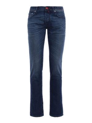 Jacob Cohen: straight leg jeans - Check label faded denim jeans