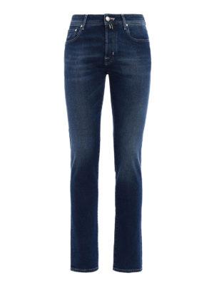 Jacob Cohen: straight leg jeans - Check label stone wash denim jeans