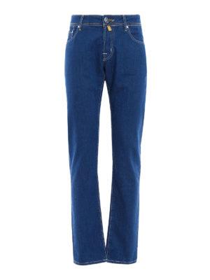 Jacob Cohen: straight leg jeans - Contrasting stitching denim jeans