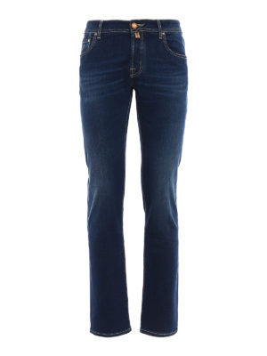 Jacob Cohen: straight leg jeans - Cotton embroidered logo jeans