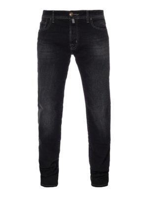 Jacob Cohen: straight leg jeans - Faded black cotton denim jeans