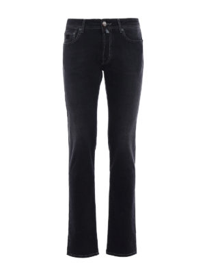 Jacob Cohen: straight leg jeans - Faded black denim jeans