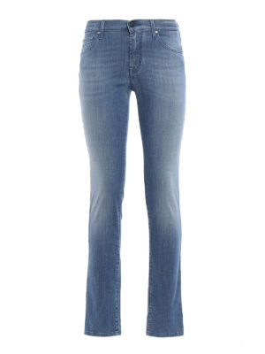 Jacob Cohen: straight leg jeans - Faded denim high waisted jeans