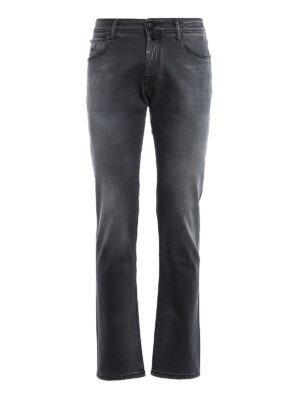 Jacob Cohen: straight leg jeans - Faded jeans with black stitchings