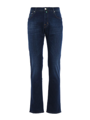 Jacob Cohen: straight leg jeans - Faded jeans with green stitchings