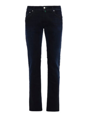 Jacob Cohen: straight leg jeans - Green haircalf label jeans