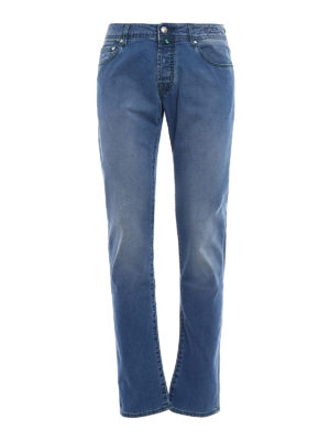 Jacob Cohen: straight leg jeans - Green stitchings denim jeans