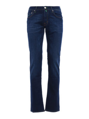 Jacob Cohen: straight leg jeans - Green stitchings faded jeans