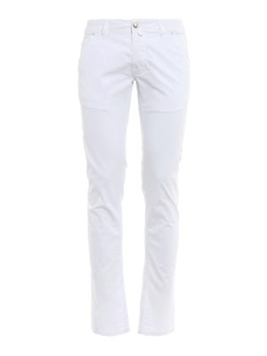 Jacob Cohen: straight leg jeans - Hair calf logo label detailed jeans