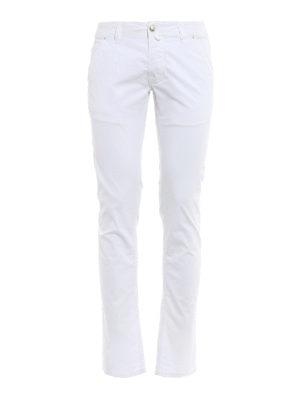 Jacob Cohen: straight leg jeans - Hair calf logo label detailed jeans