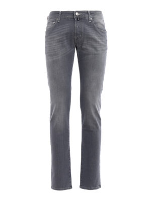 Jacob Cohen: straight leg jeans - Haircalf label detailed jeans