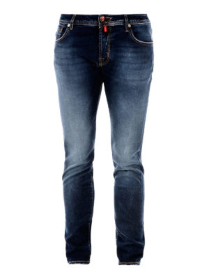 Jacob Cohen: straight leg jeans - Lambretta label detailed jeans