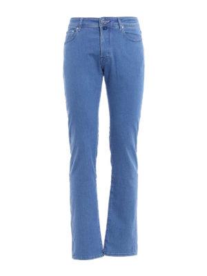 Jacob Cohen: straight leg jeans - Light blue stretch cotton jeans