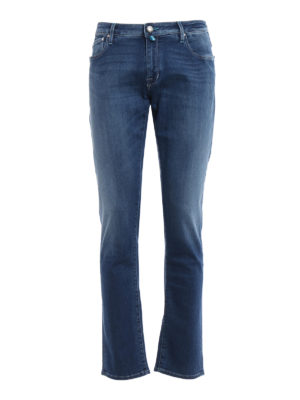 Jacob Cohen: straight leg jeans - Medium wash denim five pocket jeans