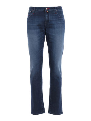 Jacob Cohen: straight leg jeans - N.3 wash denim five pocket jeans