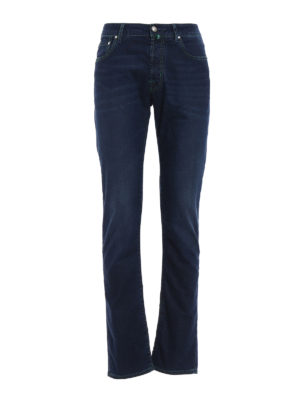 Jacob Cohen: straight leg jeans - Natural indigo garment dyed jeans