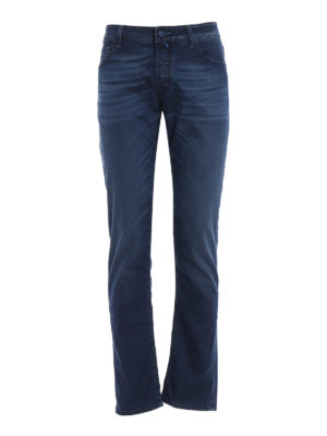 Jacob Cohen: straight leg jeans - Natural indigo garment dyed jeans