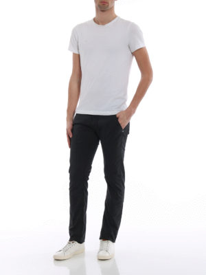 Jacob Cohen: straight leg jeans online - Black logo label detailed jeans