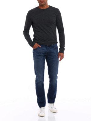 Jacob Cohen: straight leg jeans online - Check label faded denim jeans