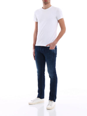 Jacob Cohen: straight leg jeans online - Contrasting stitchings jeans