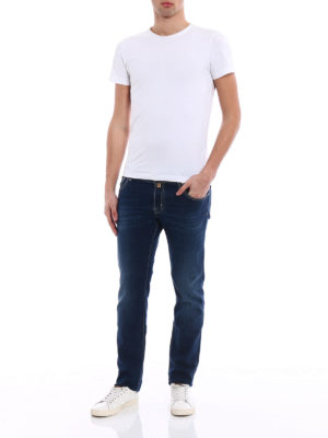 Jacob Cohen: straight leg jeans online - Cotton embroidered logo jeans