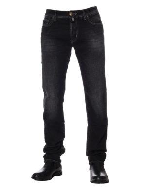 Jacob Cohen: straight leg jeans online - Faded black cotton denim jeans