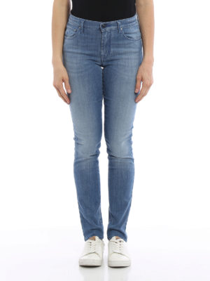 Jacob Cohen: straight leg jeans online - Faded denim high waisted jeans