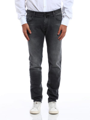 Jacob Cohen: straight leg jeans online - Faded jeans with black stitchings